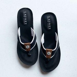 Lauren RL Jane Wedge Fit Flop Sandals Sz 8